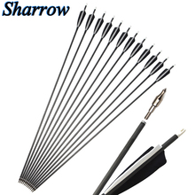 6/12/24pcs Carbon Arrow 35 Inches Spine 500 Diameter 7.2mm with Black and White Color for Compound/Recurve Bow Hunting Archery