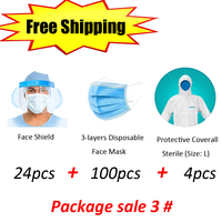 FREE SHIPPING 3 layer Disposable Face Protective Mask+ Anti fog, Hi transparency PET Face Shield+Accurate Infred Thermometer kit