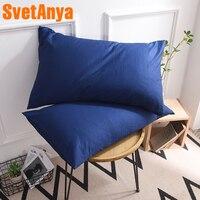 "Svetanya 2pc/lot  Bed Pillowcase 19x29"" Plain Solid color Pillow Sham single pillowcases 48*74cm Pillow Case Home & Garden -"