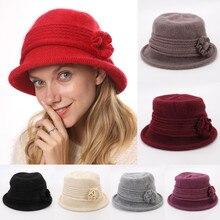 Женская теплая зимняя вязаная шапка, элегантные вечерние шапки в винтажном стиле для женщин и девочек с цветочным орнаментом, одноцветная шапка для путешествий в старом английском стиле# D