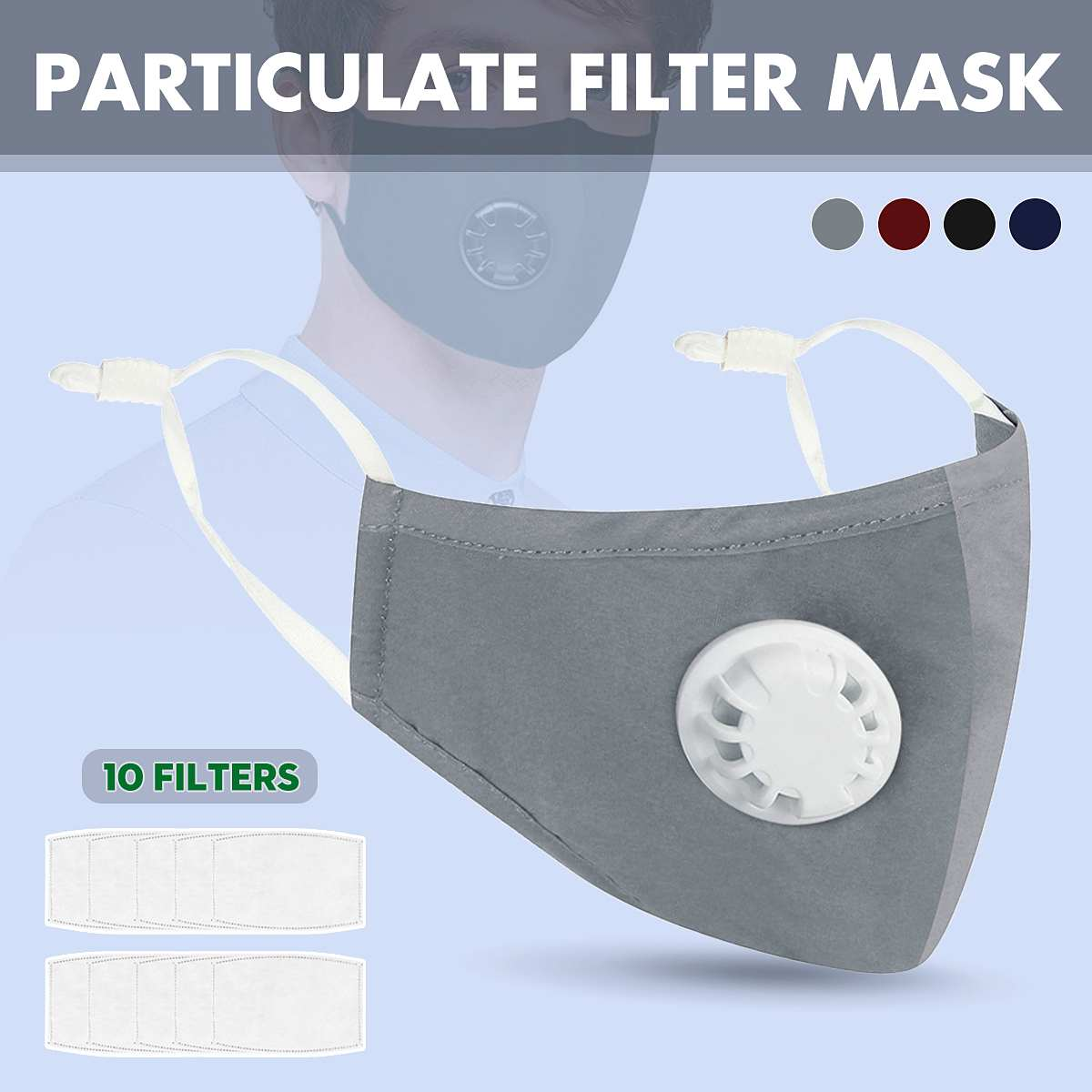 Washable PM2.5 Face Masks Particulate Respirator Anti-Dust pollen Respirator Mask 10pcs Air Filter Pad Mask with Breathing Valve