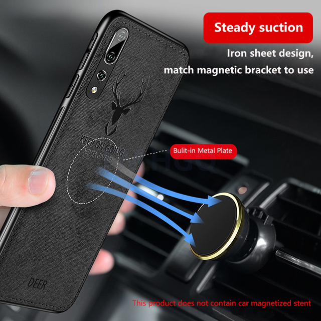 Hot Cloth Texture Deer 3D Soft TPU Magnetic Car Case For Huawei P20 Pro Built-in Magnet Plate Case For P30 P40 Pro Lite Cover 3