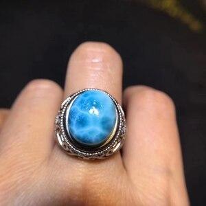 Image 5 - תעודת טבעי Larimar סטרלינג כסף מתכוונן גודל אישה טבעת 15x12mm מפלגת האהבה מתנה 14x11mm יוקרה קריסטל טבעת AAAAA