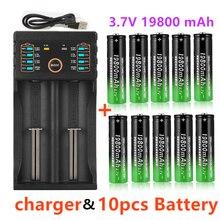 2020 novo 18650 baterias de lítio lanterna 18650 recarregável-bateria 3.7v 19800 mah para lanterna + carregador usb