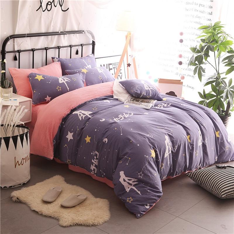 kids children Simple Classic bedding set 5 size bed linen 3/4pcs AB side duvet cover flat sheet pillowcase