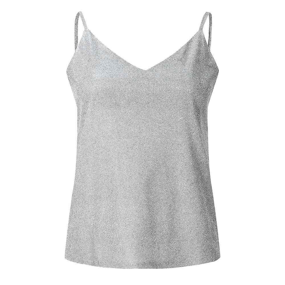 MIARHB débardeur hauts femmes sans manches marque paillettes à bretelles dames Sexy étincelle Cami balançoire gilet Camisole T-Shirt femme été