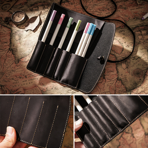 Image 4 - 100% Genuine Leather Pencil Bag Storage Pouch Rollup Pen bag Organizer Wrap Bag Vintage Retro Creative Stationery Product