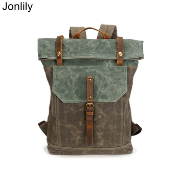 Jonlily Unisex Vintage Backpack Fashion High Capicity City Daybag Canvas Travel Laptop Backpack Teens Casual School Bag -KG379