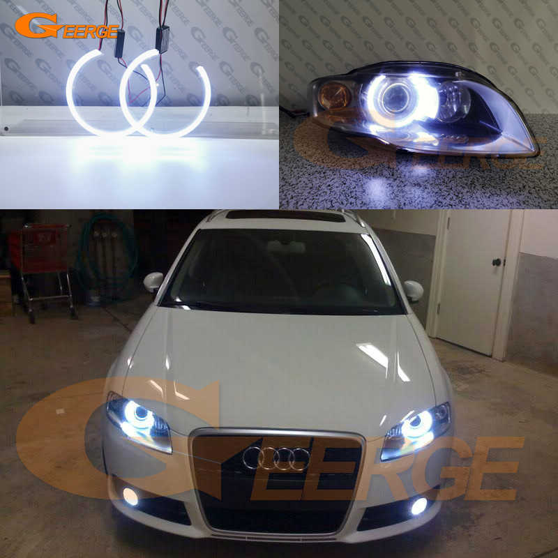 Eccellente Ultra brillante illuminazione COB led angel eyes kit halo anello Per Audi A4 S4 RS4 B7 2004 2005 2006 2007 2008 2009
