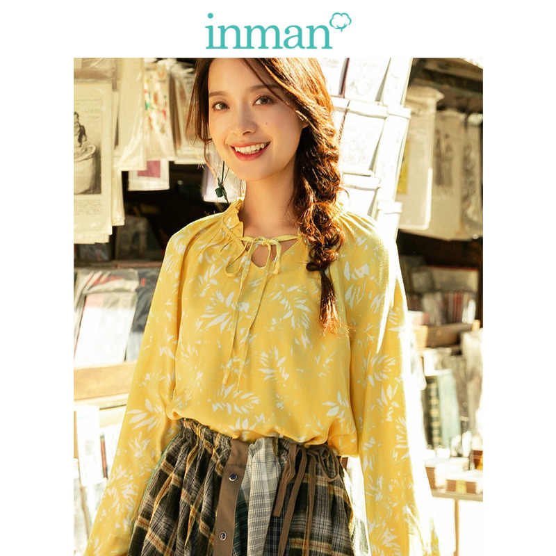 INMAN  V-neck Lacing Retro Literary Loose Long Sleeve Women Blouse