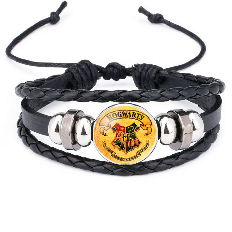 Hot Sales Accessories Harry Potter Badge Hogwarts Magic College Time Stone Cattle Leather Bracelet