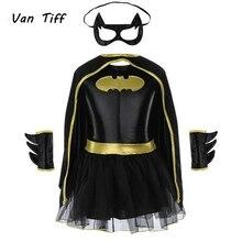زي الرجل الوطواط بطل الفيلم الخارق للفتيات الأطفال باتمان قناع ثوب الرجل الوطواط ازياء بطل السوبر مجموعة ملابس حفلة المهرجان