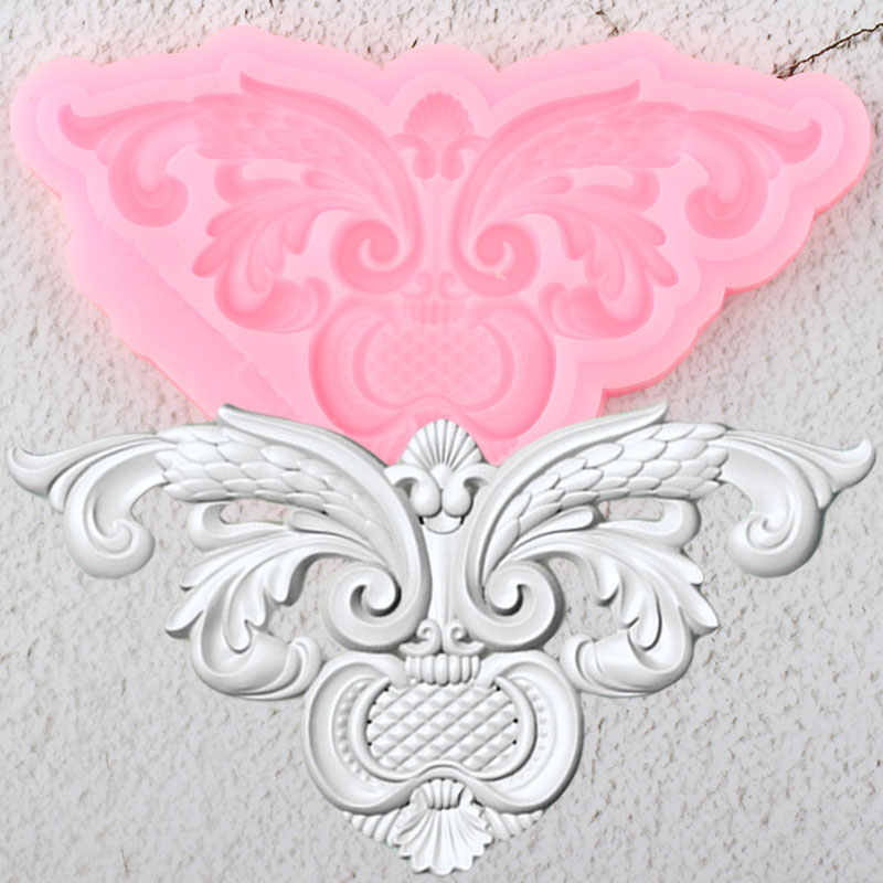 Baroque Scroll Relief Border Silicone Mold 3D Frame Cupcake Topper Fondant Cake Decorating Tools Candy Chocolate Gumpaste Moulds