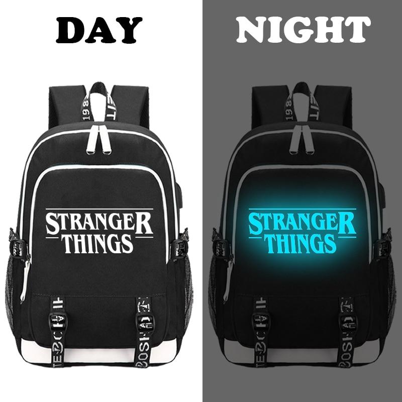 Image 2 - multifunction USB charging for teenagers boys Student Girls  School Bags Stranger Things Backpack travel Luminous Bag Laptop  PackBackpacks