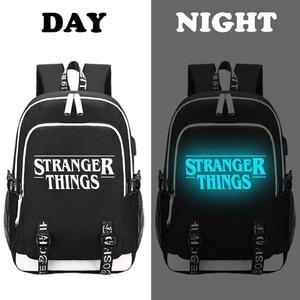 Image 2 - 多機能usb充電ティーンエイジャーの男の子のため学生女子校バッグストレンジャーものバックパック旅行発光バッグラップトップパック