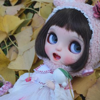 1/6 blyth doll toy bjd joint body white skin Short hair open mouth doll showing tee with  joint body gift makeup face naked doll