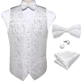 New Teal Green Paisley 100% Silk Formal Dress Vest Men Waistcoat Vest Wedding Party Vest Tie Brooch Pocket Square Set DiBanGu 36