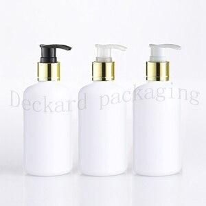 Image 2 - 20 قطعة 250 مللي أبيض أسود البلاستيك غسول زجاجات الصابون السائل الذهب مضخة الحاويات للعناية الشخصية غسول زجاجة سائل استحمام