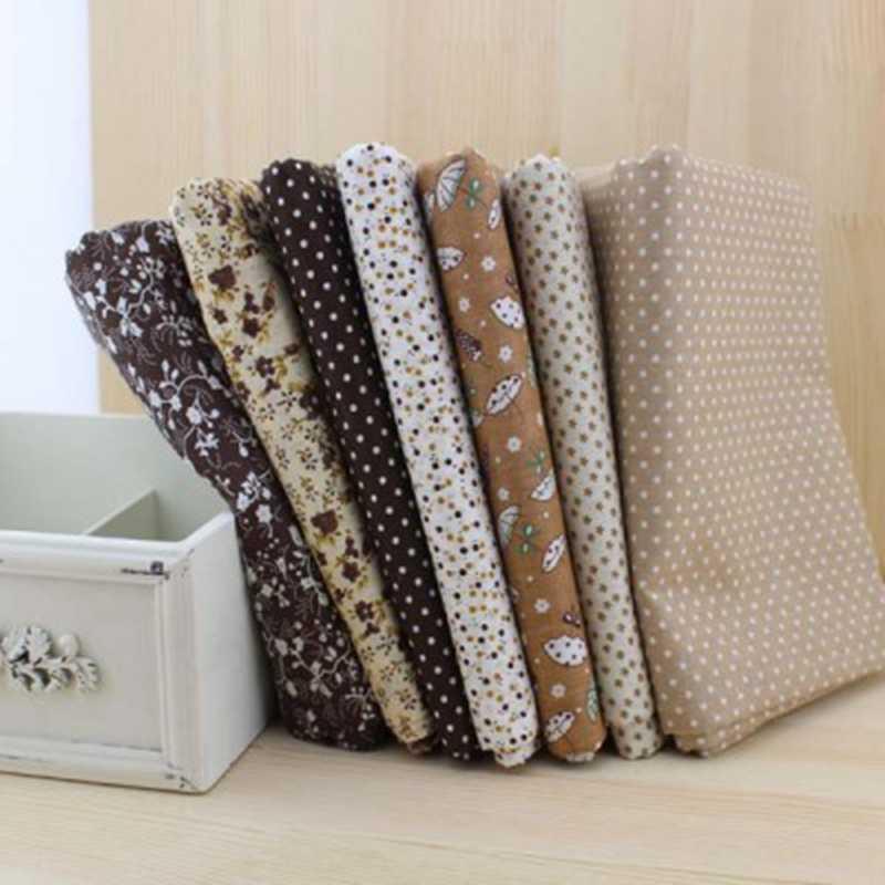 Booksew100 ٪ نسيج القطن 50 سنتيمتر x 50 سنتيمتر 7 قطعة البني دمية القماش للخياطة خليط اللحف الأنسجة المنسوجات رخيصة