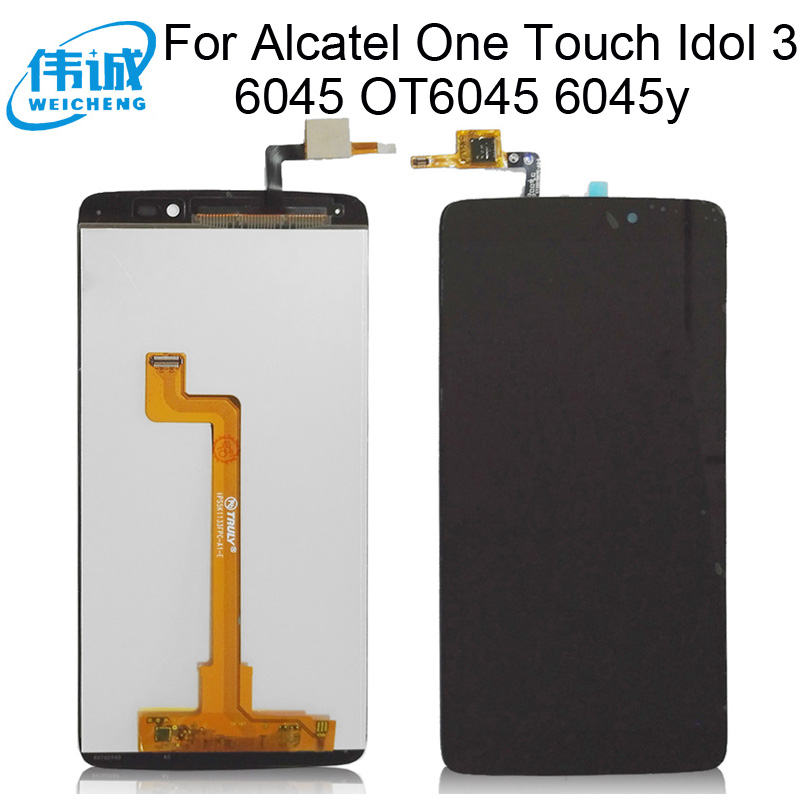 100% new tested LCD For <font><b>Alcatel</b></font> One Touch Idol 3 6045 OT6045 <font><b>6045y</b></font> LCD <font><b>Display</b></font> PANTALLA TACTIL COMPLETA PARA <font><b>ALCATEL</b></font> 6045 LCD image