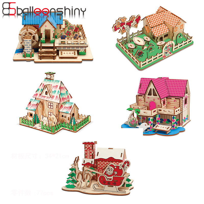 Balleenshiny New Wooden 3D Stereo Laser Cutting Jigsaw Puzzle DIY Children's Educational Toys Christmas Gifts For Kids Boy Girl
