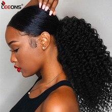 Leeons – Extension capillaire synthétique, queue de cheval bouffante à cordon de serrage, cheveux afro-américains crépus bouclés