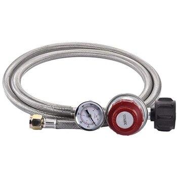 Regulador de propano de 0 ~ 30 Psi, regulador de Gas a presión ajustable trenzada, Conector de manguera con tuerca giratoria de 3/8 pulgadas y calibre para