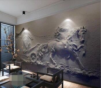 CJSIR Papel pintado personalizado Fresco 3d Carro De Ángel relieves pared pintura Papel pintado para paredes 3 D Papel De pared decoración del hogar