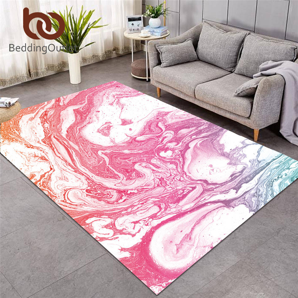 BeddingOutlet Marble Luxury Carpets Large for Living Room Rainbow Mat Rock Stone Area Rug Nature Colorful Decorative Pink Rug