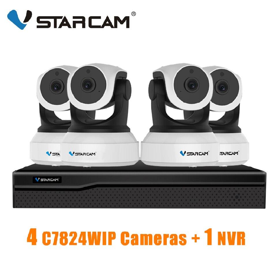 VStarcam 1 NVR 8CH + 4 PCS C7824WIP 720P HD Wireless IP Camera IR-Cut Night Vision Audio Recording Network CCTV Indoor IP Camera