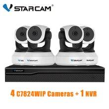 Vstarcam 1 nvr 8ch + 4 pces c7824wip 720 p hd câmera ip sem fio ir corte de visão noturna gravação de áudio rede cctv câmera ip interior