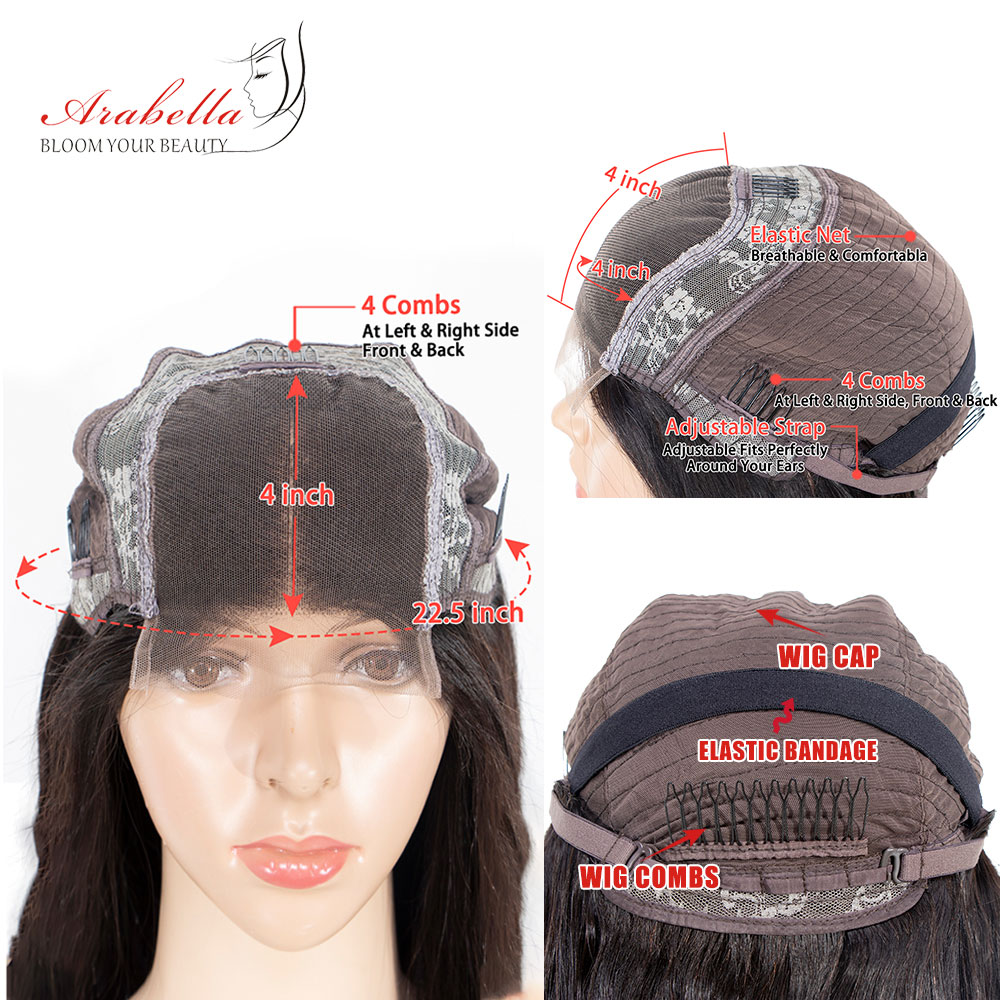 Straight Hair Lace Closure Wig With Baby Hair Pre Plucked Arabella  150 180 Density 4x4 Closure Wig  Wigs 6