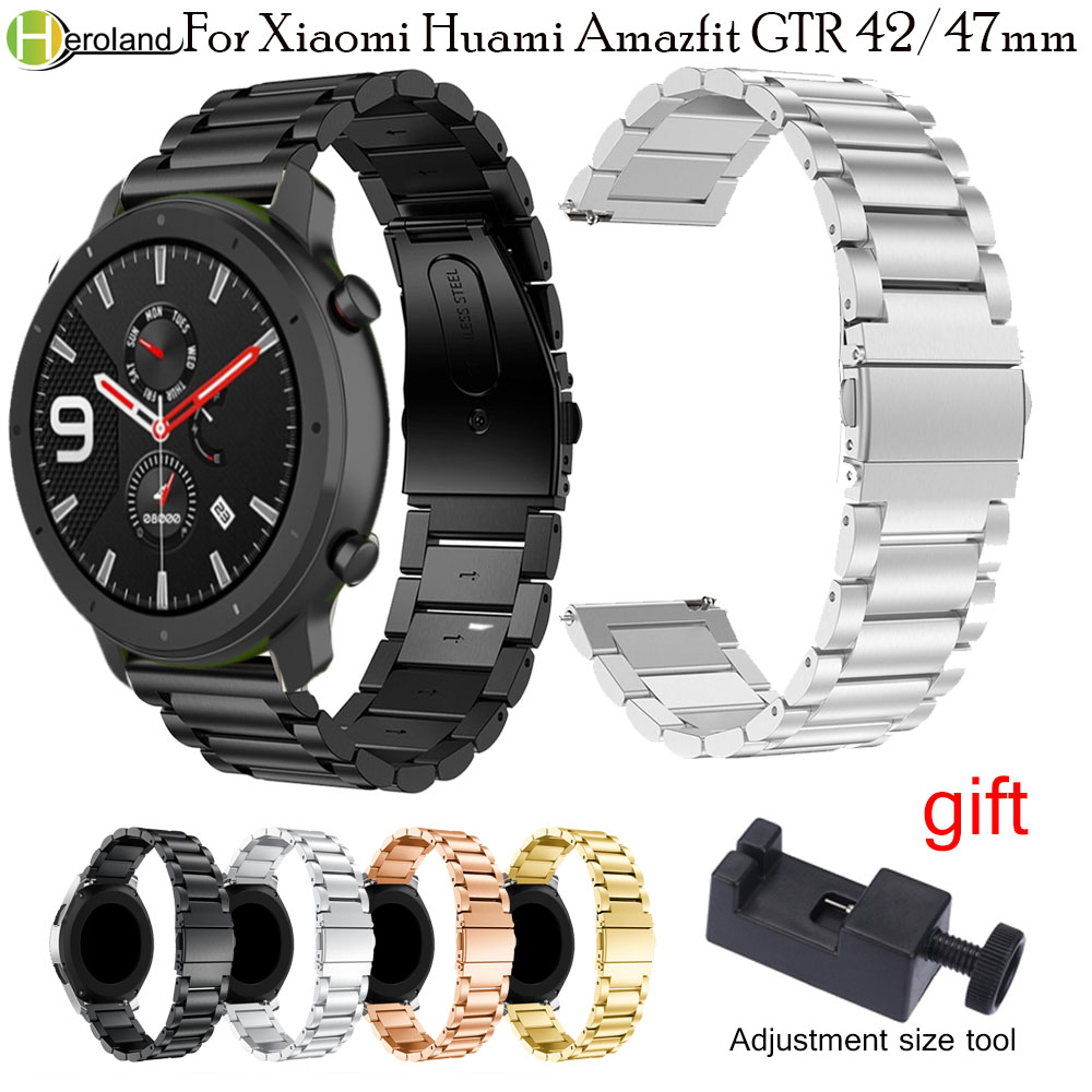 20/22mm Watch Strap Stainless Steel For Huami Amazfit GTR 47mm/42mm/Amazfit Stratos 2/2S/GTS Quick Release Watchband +Tools Hot