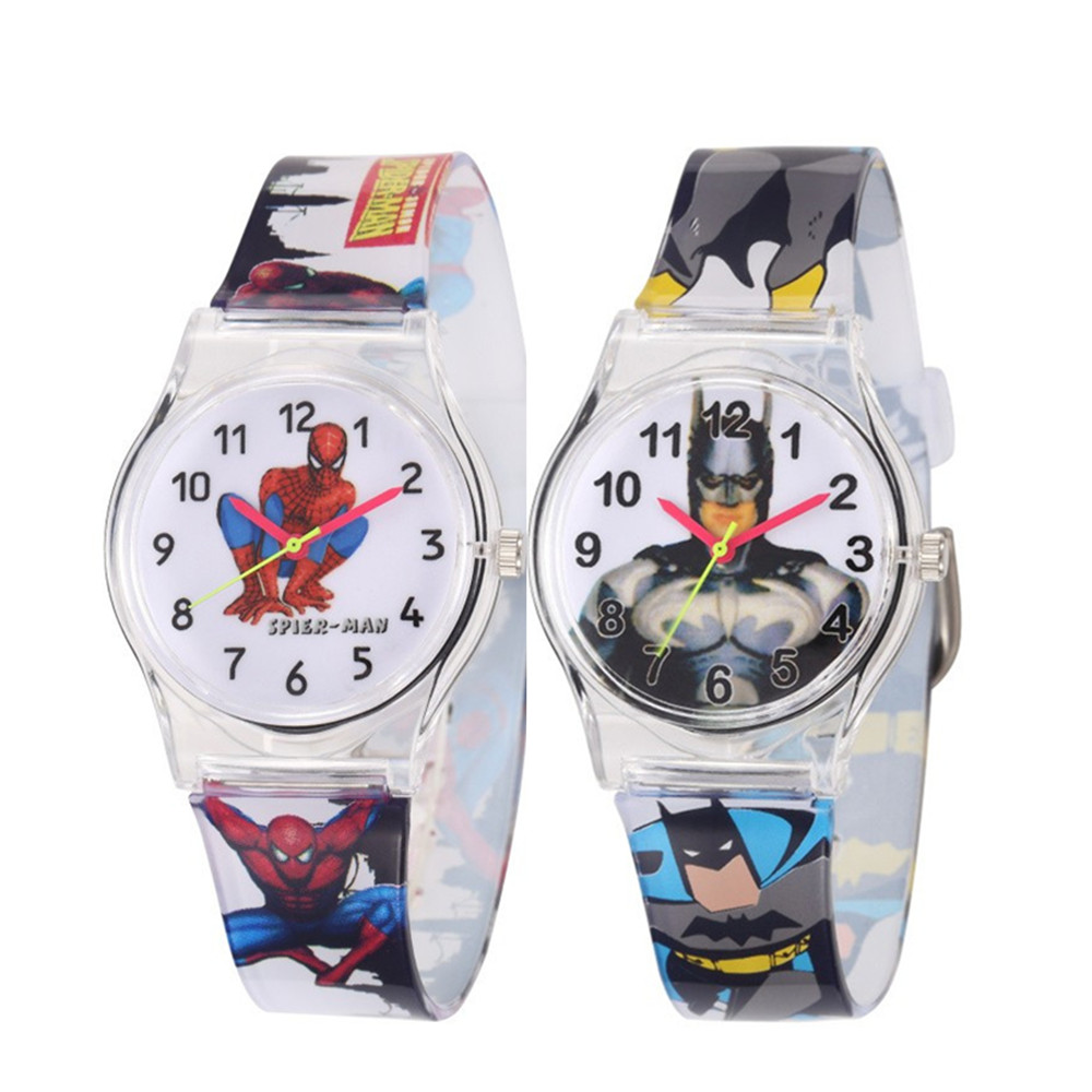 Spiderman Batman Cartoon Kids Watches 30M Waterproof Jelly Cute Pattern Strap Children Wristwatch Boys Babys Gift Montre Enfant