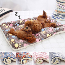 Soft Dog Mat Flannel Thickened Warm Bed Mat For Puppy Dog Cat
