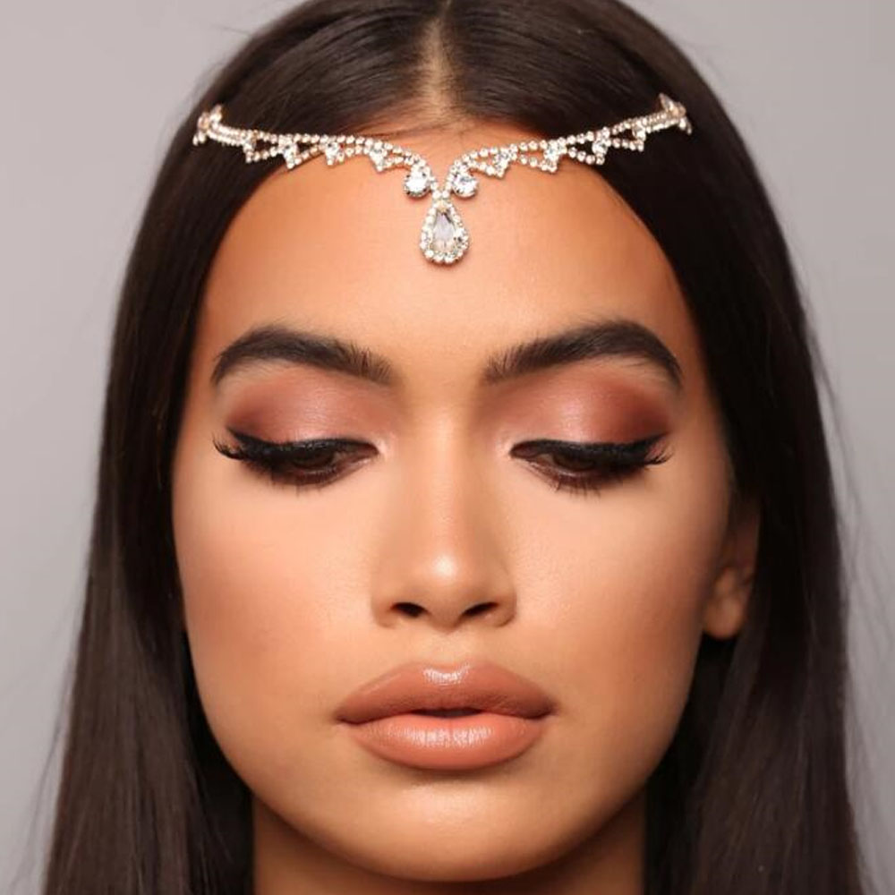 Luxury <font><b>Wedding</b></font> <font><b>Headpiece</b></font> Crystal Bridal Head Chain Tiara <font><b>Hair</b></font> Jewelry <font><b>for</b></font> Women Rhinestone Forehead Headband <font><b>Accessories</b></font> Gift image
