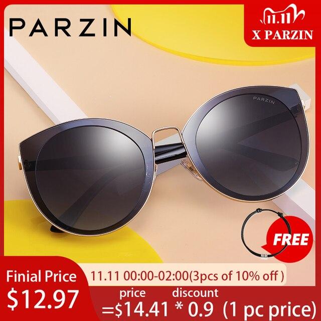 PARZIN 럭셔리 편광 선글라스 여성 경량 TR90 프레임 코팅 미러 렌즈 여름 여성 선글래스 브랜드 디자이너
