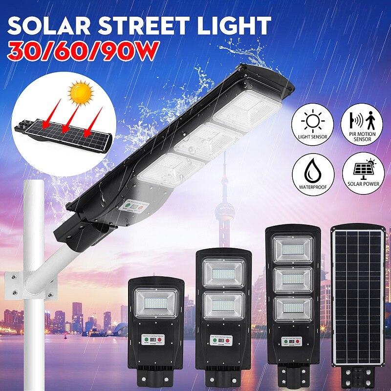 Lampadaire LED 30W 60W 90W lumière solaire Radar PIR capteur de mouvement mur lampe de synchronisation avec télécommande étanche pour Plaza Garden Yard