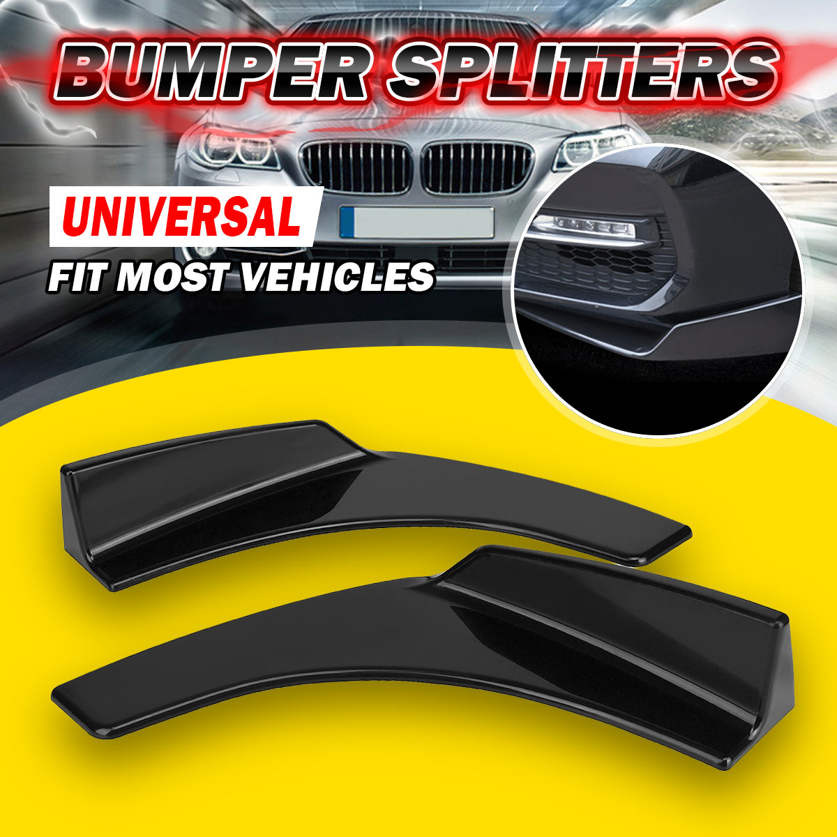 Pair Universal Car <font><b>Front</b></font> Bumper <font><b>Lip</b></font> Deflector Diffuser Spoiler Splitter Canard <font><b>Lip</b></font> For BMW <font><b>W204</b></font> E90 E92 For <font><b>Benz</b></font> For Audi A4 B8 image