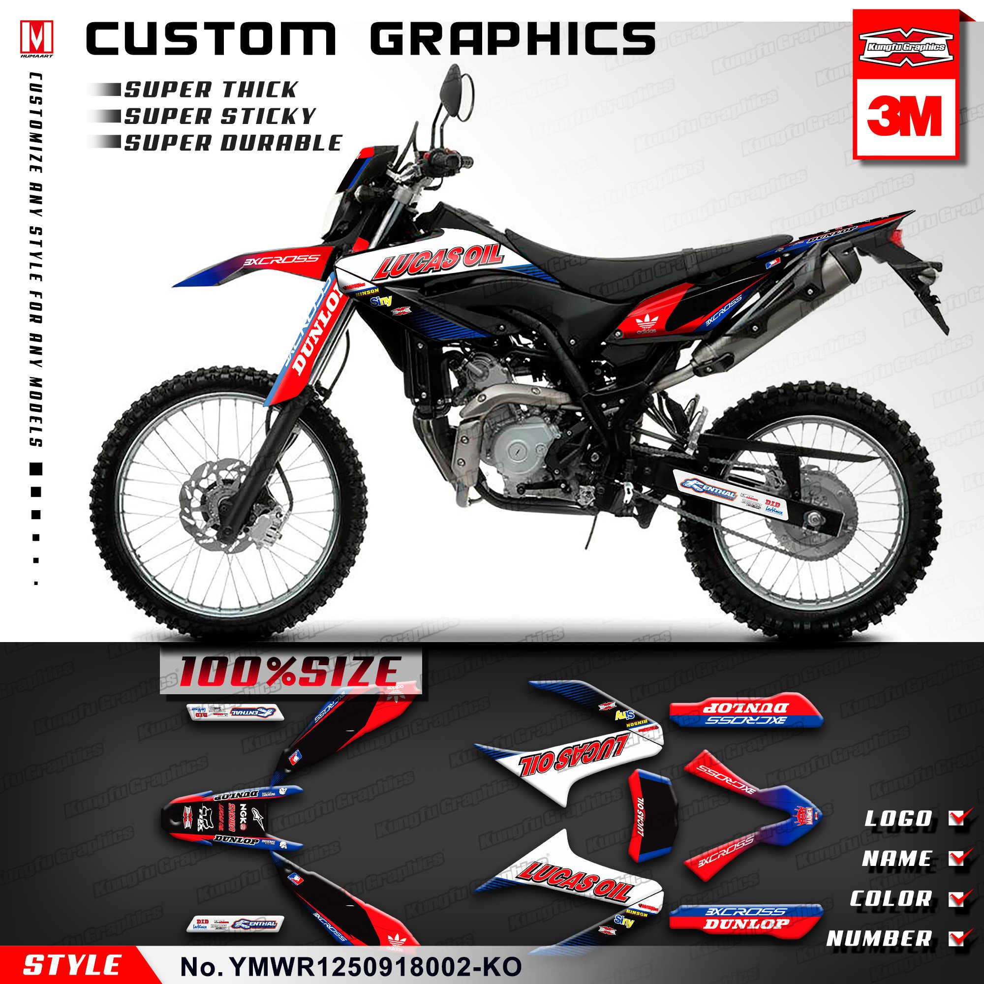 Kungfu graphics personalised sticker kit for yamaha wr 125 r