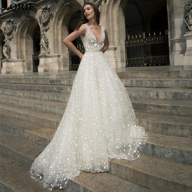 LORIE A Line Boho Wedding Dresses Stars Tulle Sexy Bridal Wedding Gown Deep V Neck S Vestidos De Novia Custom Made