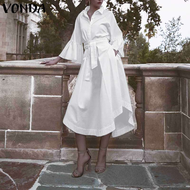 White Office Dress VONDA 2020 Women Casual Loose Lapel Neck Flare Sleeve Dress Plus Size Beach Sundress Vestidos Robe Femme 5XL
