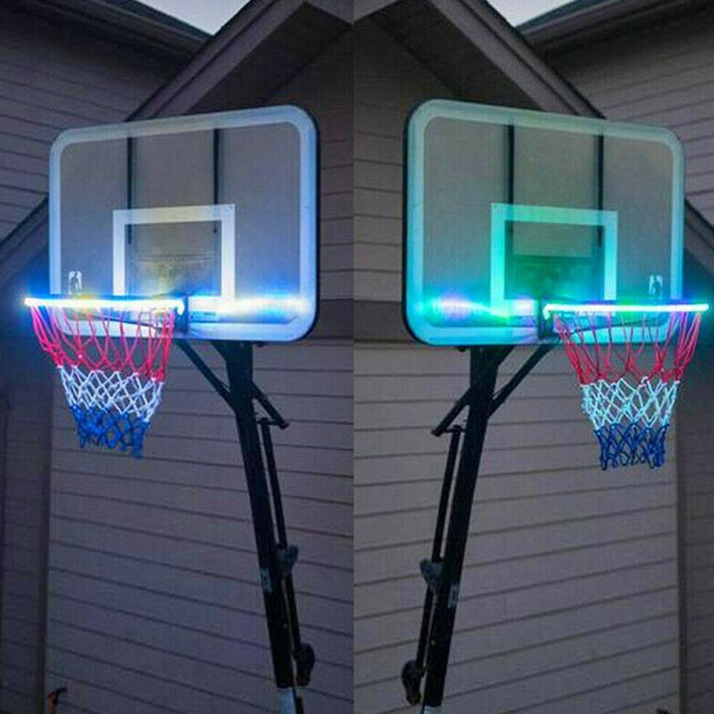 LED Basket Hoop Solar Light Play At Night Illuminated Basketball Rim Attachment Helps You Shoot Hoops On Night LED Strip Lamp