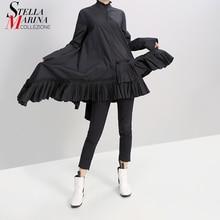 قميص نسائي جديد للخريف أسود متين وأكمام طويلة فستان مكشكش بحاشية 2019 فستان أنيق للعطلات موضة 5414