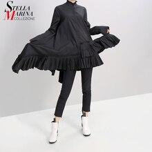 Neue Frauen Herbst Solid Black Langarm Mini Shirt Kleid Gekräuselten Saum 2019 Damen Mode Urlaub Elegante Kleid Robe Festlichen 5414