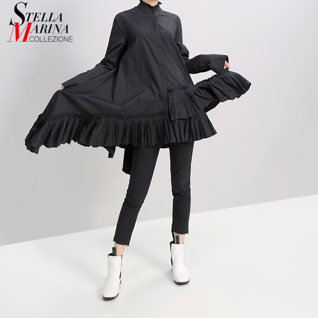 New Women Autumn Solid Black Long Sleeve Mini Shirt Dress Ruffled Hem 2019 Ladies Fashion Holiday Elegant Dress Robe Festal 5414