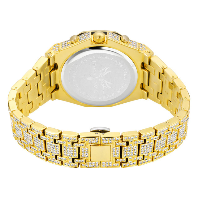 Hip Hop ice out Watch Men Full Diamonds Watches Man 18k Gold Stainless Steel Band Mens Quartz Wristwatch Bling CZ reloj hombre