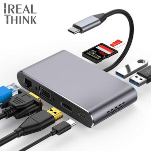 IREALTHINK Type c концентратор USB-C адаптер Macbook Pro-аксессуары HDMI VGA RJ45 док-станция usb Type c концентратор usb-хаб