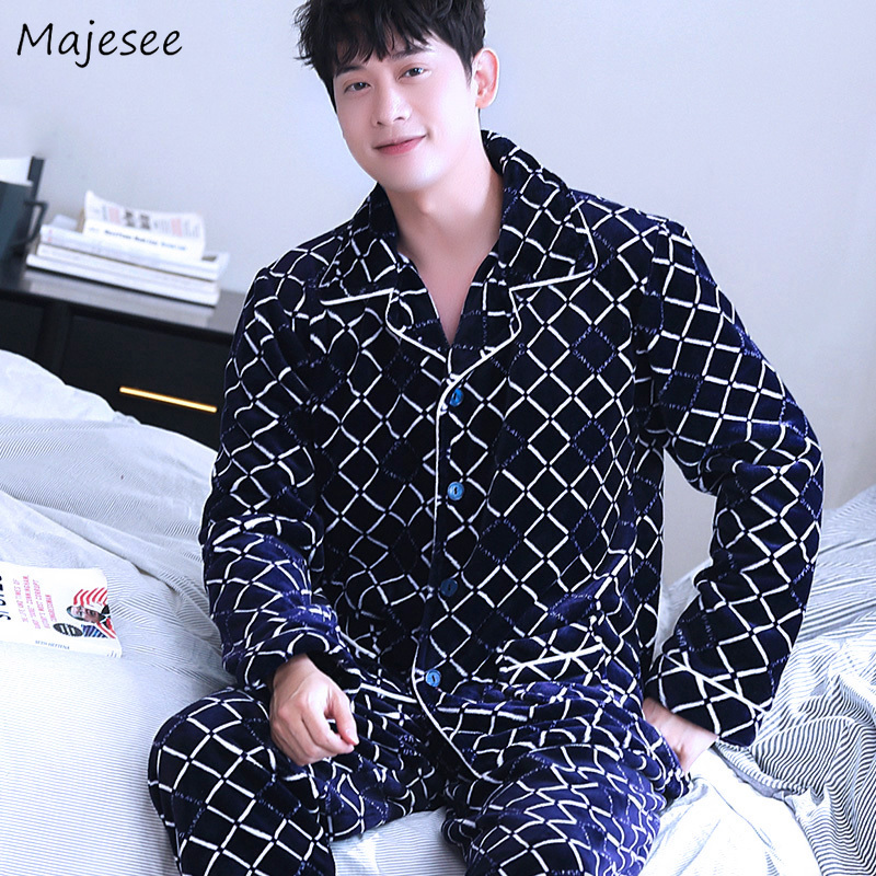 Pajama Set For Men Single Breasted Mens Pajamas Long Sleeve Plaid Flannel Hot Sale Warm Home Clothing High Quality Comfortable