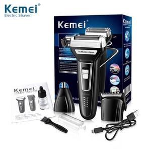 Image 5 - Kemei 3 ב 1 גילוח לגברים USB נטענת האף שיער גוזם גברים של מכונת גילוח חשמלי תספורת מכונת